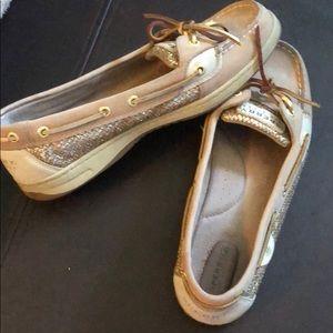 EUC Sperrys gold glitter boat shoes, size 9.5M